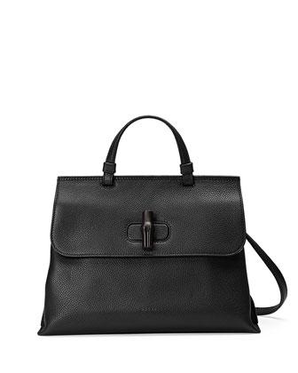 Bamboo Daily Medium Leather Top Handle Bag, Black