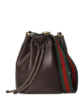 Linea B Medium Drawstring Leather Bucket Bag, Dark Brown
