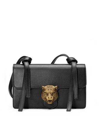 Animalier Leather Shoulder Bag, Black