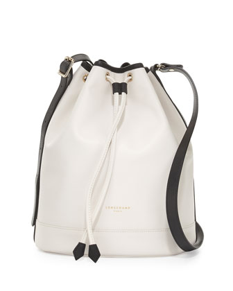 Longchamp 2.0 Large Leather Bucket Bag, Ecru/Black