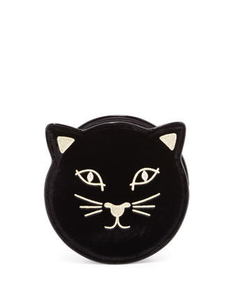 Kitty Round Velvet Clutch Bag, Black