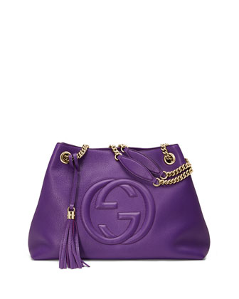 Soho Medium Leather Tote Bag, Purple