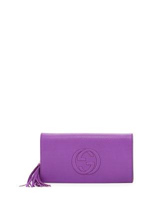 Soho Leather Clutch Bag, Purple