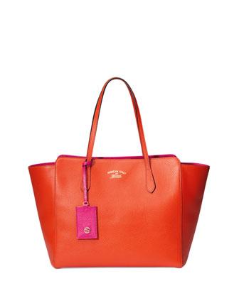 Gucci Swing Medium Tote Bag, Orange/Pink