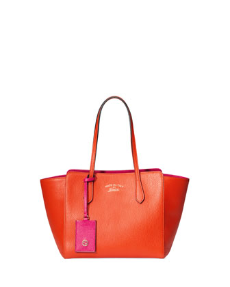 Small Leather Swing Tote Bag, Orange/Pink