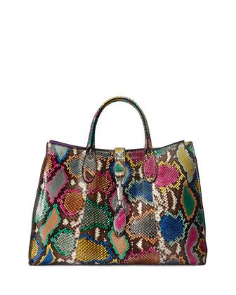 Jackie Soft Medium Python Tote Bag, Multicolor