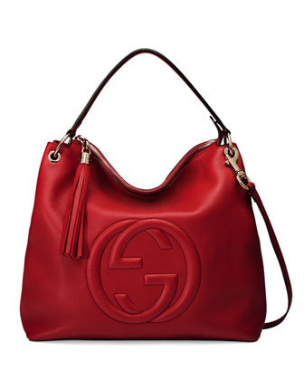 Soho Large Leather Hobo Bag, Red