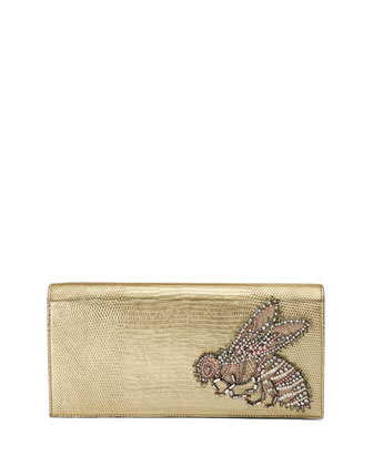 Broadway Embroidered Lizard Clutch Bag, Gold
