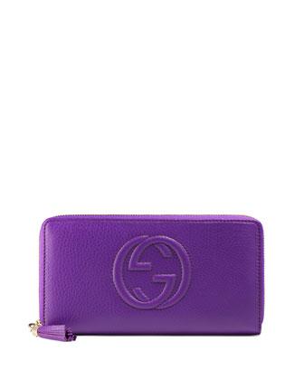 Soho Leather Zip-Around Wallet, Purple