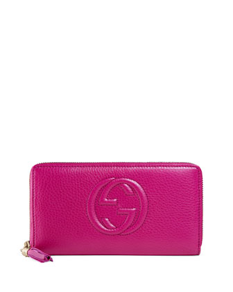 Soho Leather Zip-Around Wallet, Bright Pink