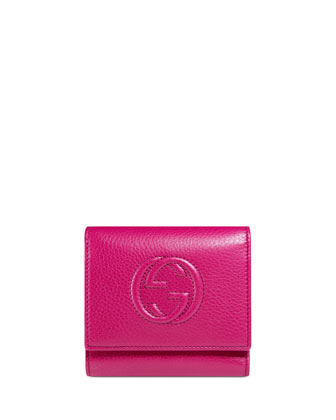 Soho Leather Flap Wallet, Bright Pink