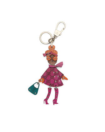 Studded Leather Lady Key Ring Charm for Handbag