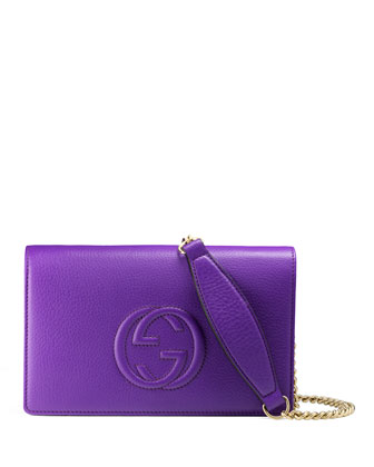 Soho Leather Mini Chain Bag, Purple