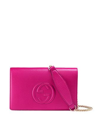 Soho Leather Mini Chain Bag, Bright Pink