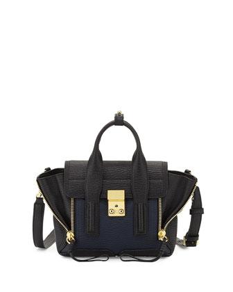 Pashli Mini Leather Satchel Bag, Black/Ink