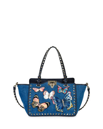 Rockstud Denim Butterfly Mini Tote Bag