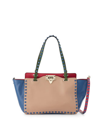 Rockstud Four-Color Mini Tote Bag, Beige/Blue/Pink/Green