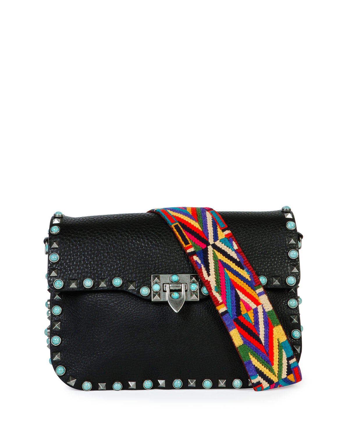 Rockstud Turquoise-Stud Saddle Bag w/Embroidered Strap, Black - Valentino