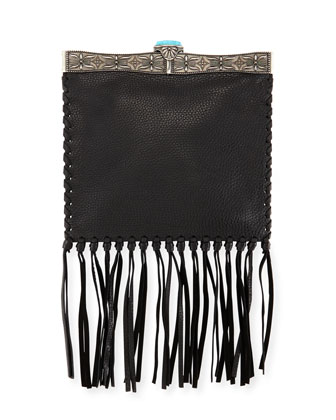 Metal-Framed Leather Fringe Shoulder Bag, Black