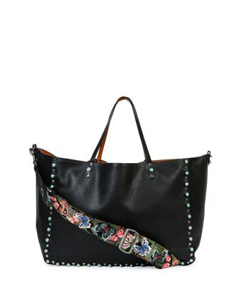 Rockstud Turquoise-Stud Reversible Tote Bag, Black/Camel