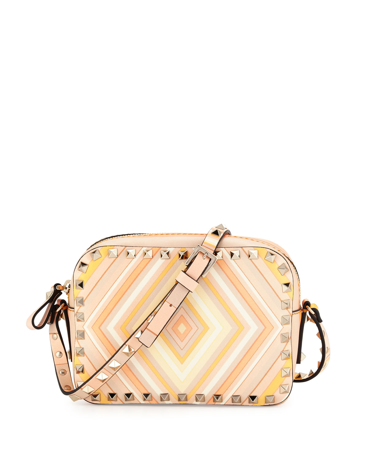 Red Valentino Rockstud 1975 Camera Crossbody Bag, Orange/Multi, Orange Multi