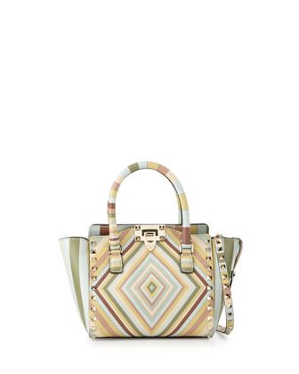 Rockstud 1975 Micro Mini Shopper Bag, Green Multi