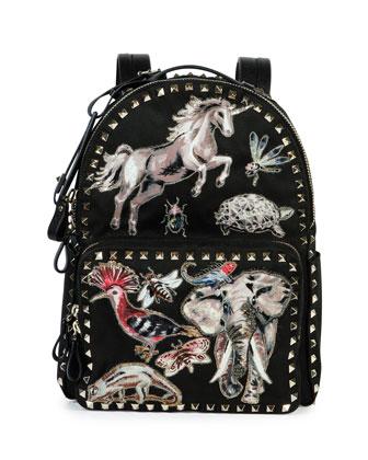 Rockstud Animalia Medium Embroidered Backpack, Black