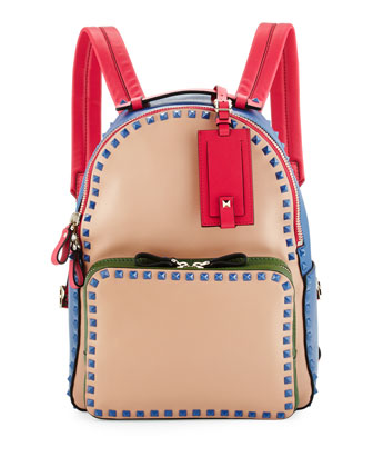 Rockstud Medium Four-Color Backpack, Beige/Blue/Pink/Green