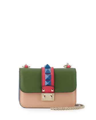 Lock Four-Color Leather Micro Mini Shoulder Bag, Beige/Blue/Pink/Green