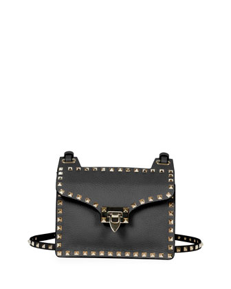 Rockstud Lock-Flap Square Shoulder Bag, Black