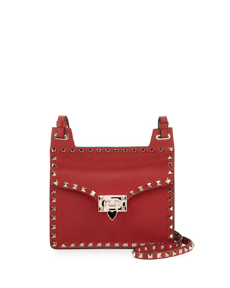 Rockstud Lock-Flap Square Shoulder Bag, Red