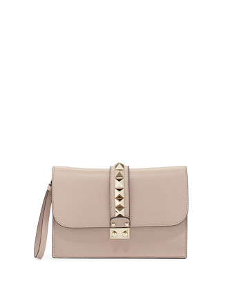 Lock Grain Wristlet Large Clutch Bag, Taupe