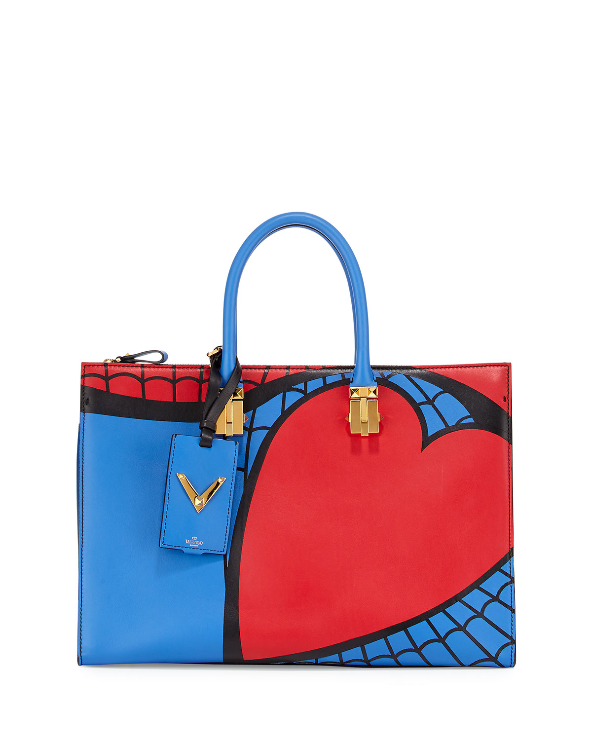 Red Valentino Superhero Spiderman Tote Bag, Red/Blue