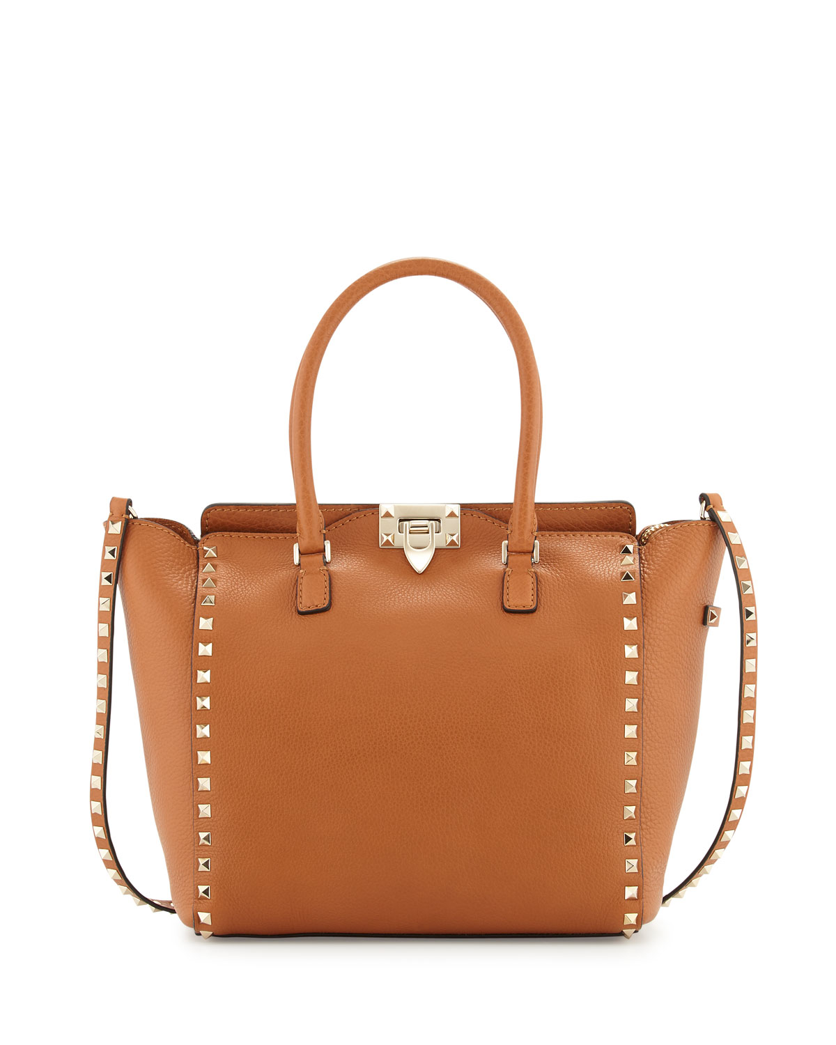 Rockstud Medium Grain Leather Shopper Tote Bag, Tan - Valentino