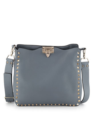 Rockstud Small Messenger Bag, Gray