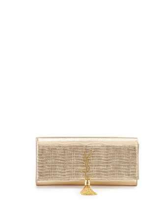 Monogram Lizard-Stamped Clutch Bag, Gold