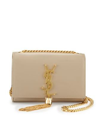 Monogram Small Tassel Crossbody Bag, Beige