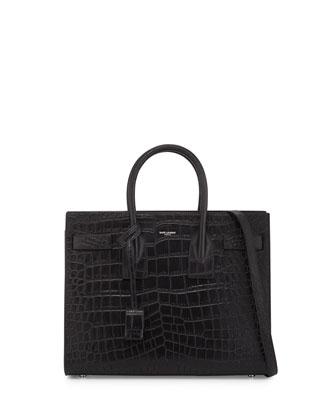 Sac de Jour Small Crocodile-Stamped Carryall Bag, Black