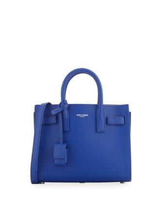 Sac de Jour Mini Grained Leather Tote Bag, Cobalt