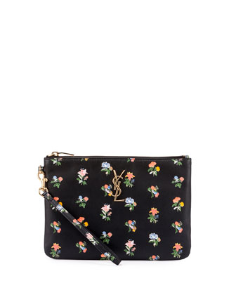 Monogram Prairie Flower Pouch Bag, Black Multi