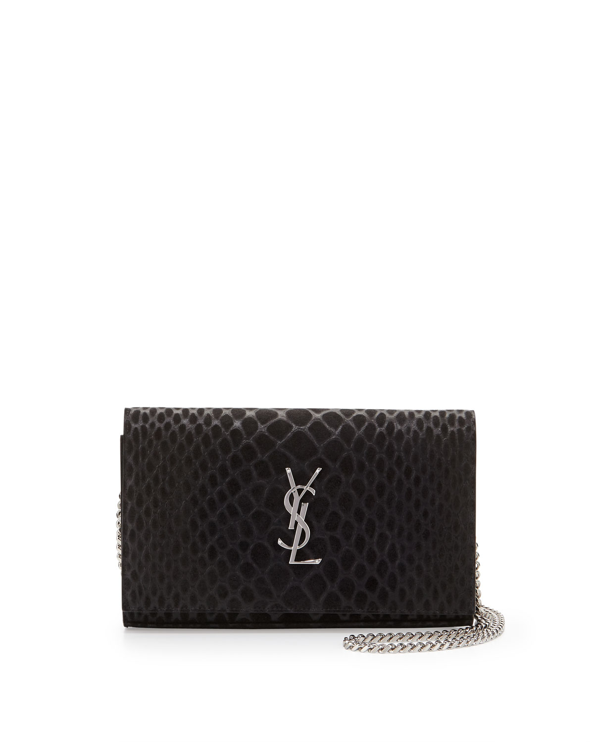 Monogram Python-Stamped Wallet-on-Chain, Black, Women's - Saint Laurent