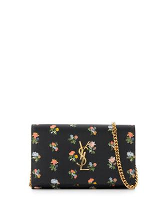 Monogram Prairie Flower Printed Wallet-on-Chain, Black Multi