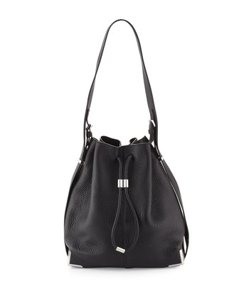 Prisma Drawstring Bucket Bag, Black