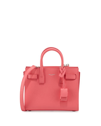 Sac de Jour Mini Grained Bonded Leather Tote Bag, Rose