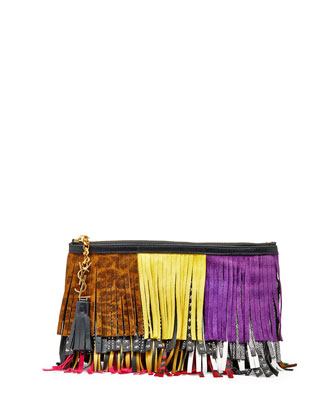 Monogram Medium Fringe Pouch Bag, Black Multi