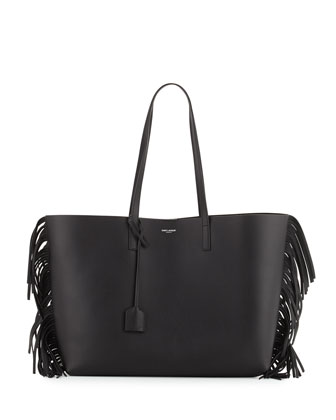 Large Calfskin Fringe Shopping Tote Bag, Black
