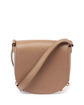 Lia Mini Leather Saddle Bag, Latte