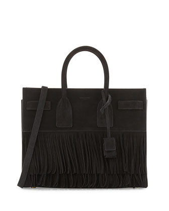 Sac de Jour Small Suede Fringe Satchel Bag, Black