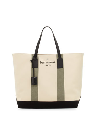 Striped Beach Shopper Tote Bag, Olive Green/Khaki