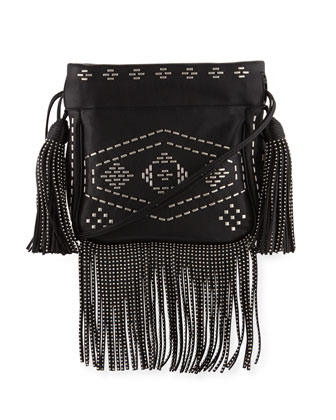 ysl yves - monogram medium fringe pouch bag, black multi